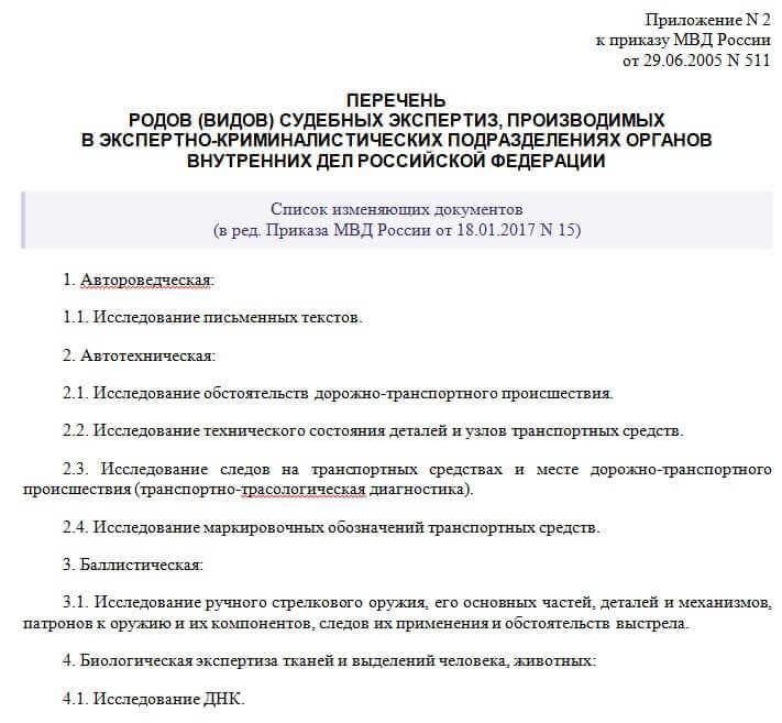 Prikaz nomer 511 MVD Rossii