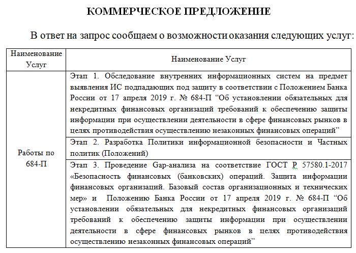 Предложение по этапам работ 684-П
